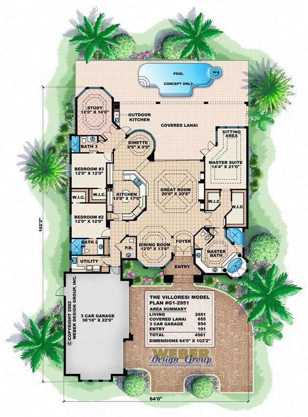 Mediterranean House Plan 1 Story Mediterranean Floor Plan With Pool Mediterranean Floor Plans House Plans Mediterranean House Plans