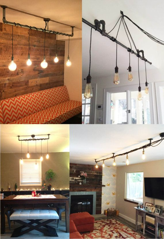 5 Pendant Light - Wrap a stick or pipe rustic chandelier pendant lamp - Any Custom Lengths and Colors - Wood Dining Room Chandelier