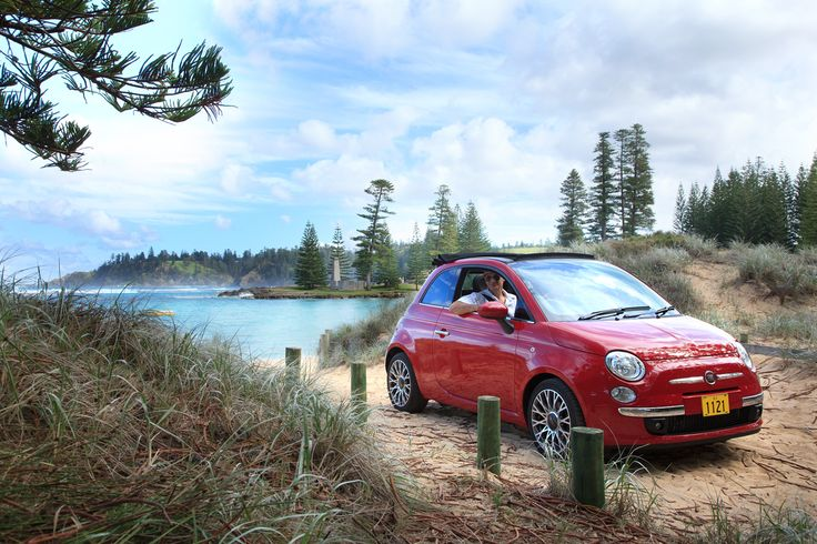 2013 Fiat 500 convertibles at Emily Bay Norfolk Island.. The Tin Sheds...