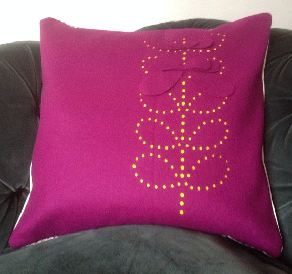 Colour contrast die cut cushion cover by scampandhoney on Etsy
