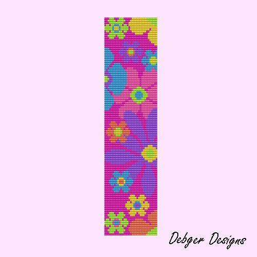 Free Loom Bead Patterns | Blooming -Loom Bracelet Cuff by Debger Designs