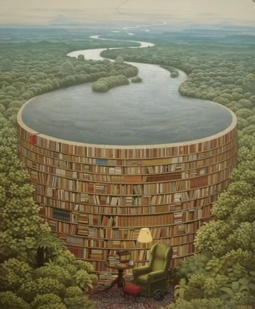 Imaginary place, but very interesting - library containing the flood of info/stories & holding back the flood of ignorance!