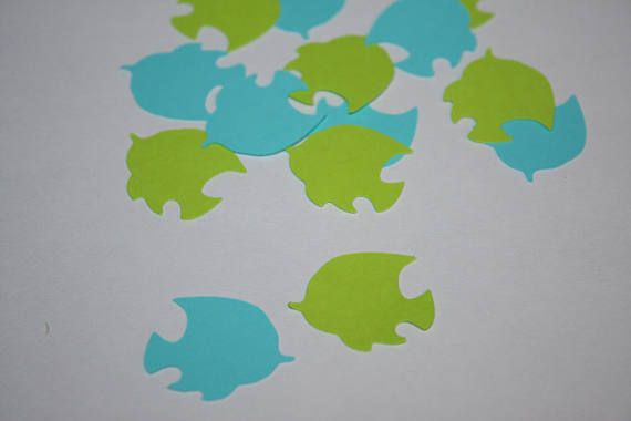 Tropical Fish Die Cut Confetti  200 pieces Bright Green and