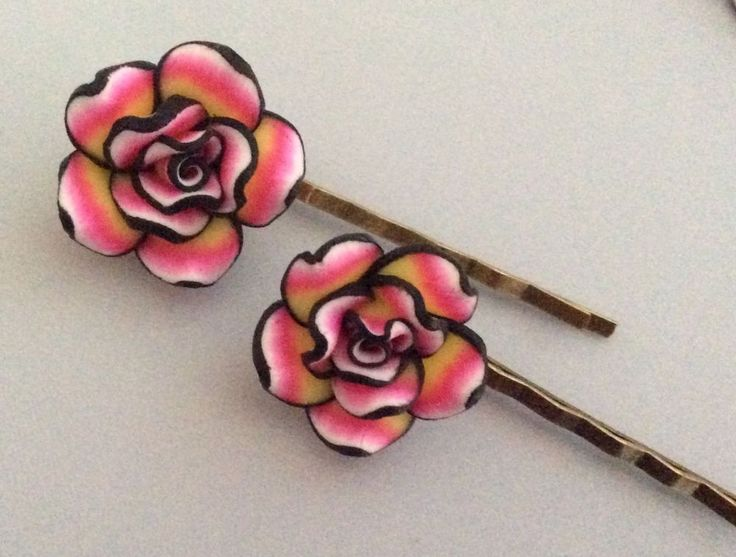 Pink Rose Flower Bobby Pin Set Gifts for Her Polymer Clay Rose Bobby Pins #Unbranded #BobbyPins #Alloccasions