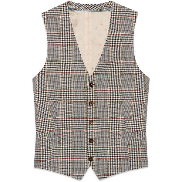 Gucci Retro Check Wool Formal Vest ($1,130) ❤ liked on Polyvore featuring men's fashion, men's clothing, men's outerwear, men's vests, mens wool outerwear, mens retro vests, mens formal wear vests, mens vest and mens formal vest
