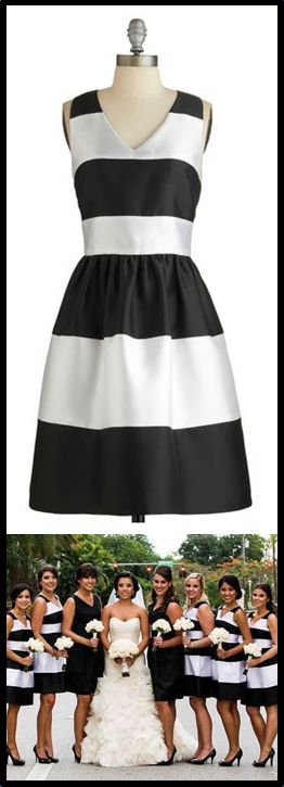 Black & white striped bridesmaid dresses http://www.theperfectpaletteshop.com