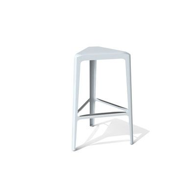 """Arktura Clic 30"""" Bar Stool Finish: Stainless Steel with Satin, Upholstery: Glacier Gray"""