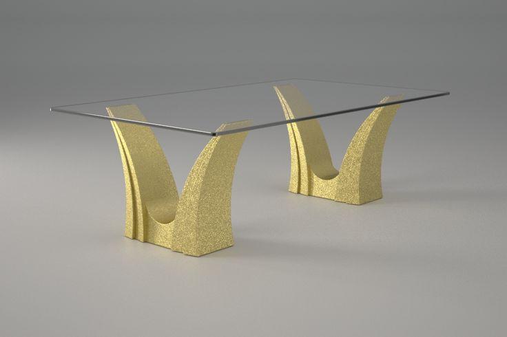 Articolo 3EA-9     Tavolino da salotto Apollo - Finitura: oro.Misure: cm 110 x 65 - Altezza cm 60  - Peso: Kg.45 - Vetro: rettangolare -  temperato - extrawhite - filo lucido - spessore 1 cm