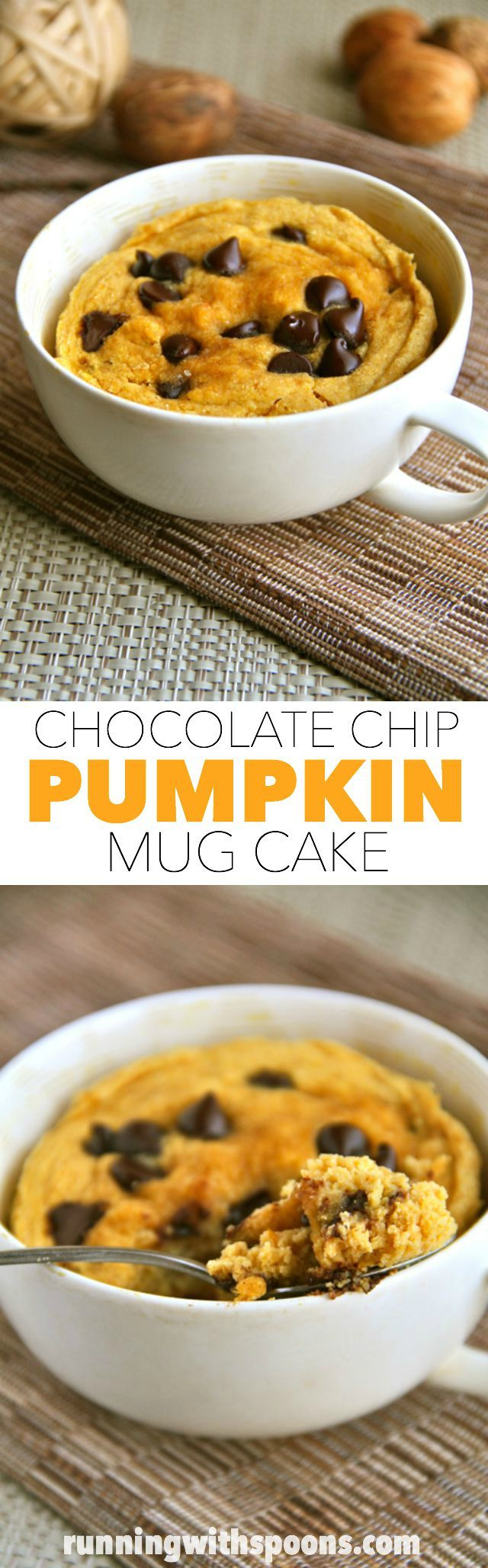 Chocolate Chip Pumpkin Mug Cake -- soft, fluffy, and crazy delicious! Whip up this gluten-free mug cake in under 5 minutes for a healthy and delicious treat! || runningwithspoons.com #pumpkin #fall