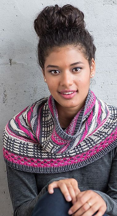 The Santorini is a beautiful colorwork cowl knitting pattern. Learn how to do the slip-stitch pattern featured in the cowl.