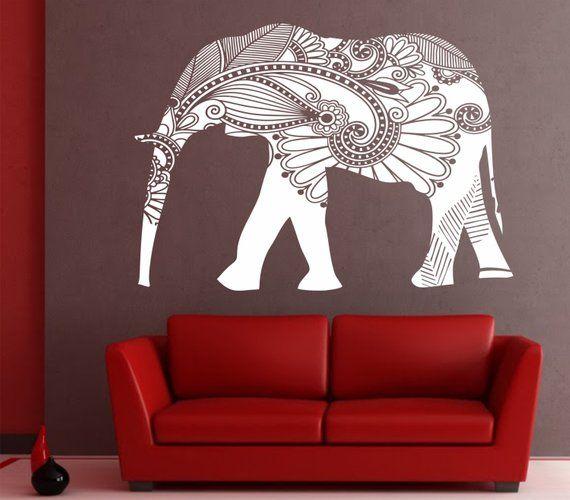 Elephant Wall Decal Stickers Elephant Yoga Wall Decals Indie Wall Art Bedroom Dorm Nursery Boho Bed Elephant Wall