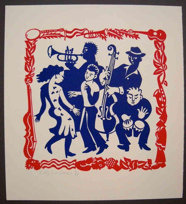 Linocut, Music and dancing