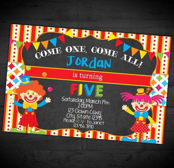 Clown Birthday Party Invitation - Circus Chalkboard Invite - Carnival - Big Top - Printable or Printed - SHIPPING INCLUDED - 4x6