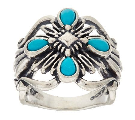 Turquoise Rope Design Sterling Silver Ring by American West