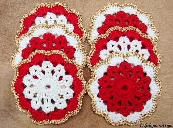 Crochet Coaster Doily Christmas Set of 6  Red by TjekijasDesign, $28.00