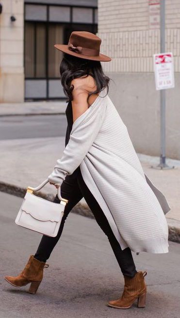 #fall #outfits / oversized gray cardigan + camel boots