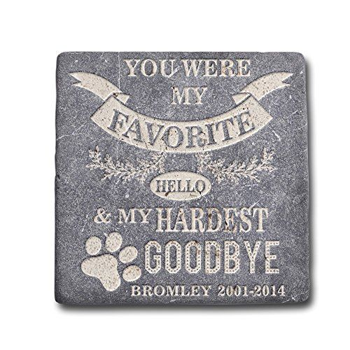 Personalized Memorial Pet Headstone Customized - Favorite Helo Hardest Goodbye - 6 x 6 Negro Marquina Marble