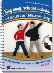 """Bing bong, schicke schong, wir tanzen den Radieschen-Song – Bewegungsreime und -lieder zur Sprachförderung ++ In den fantasievollen #Singspielen zum Thema """"#Ernährung"""" entwickeln die #Kinder spielerisch und trotzdem gezielt ihre Ausdrucksmöglichkeiten mit Körper und #Sprache. Alle 30 #Lieder und #Reime sind auf der beiliegenden CD enthalten – zum #Mitsingen, #Mitspielen und auch mal """"richtig abrocken"""". Da bleibt garantiert keiner auf dem Platz sitzen! #Kita #Kindergarten #Sprachförderung"""