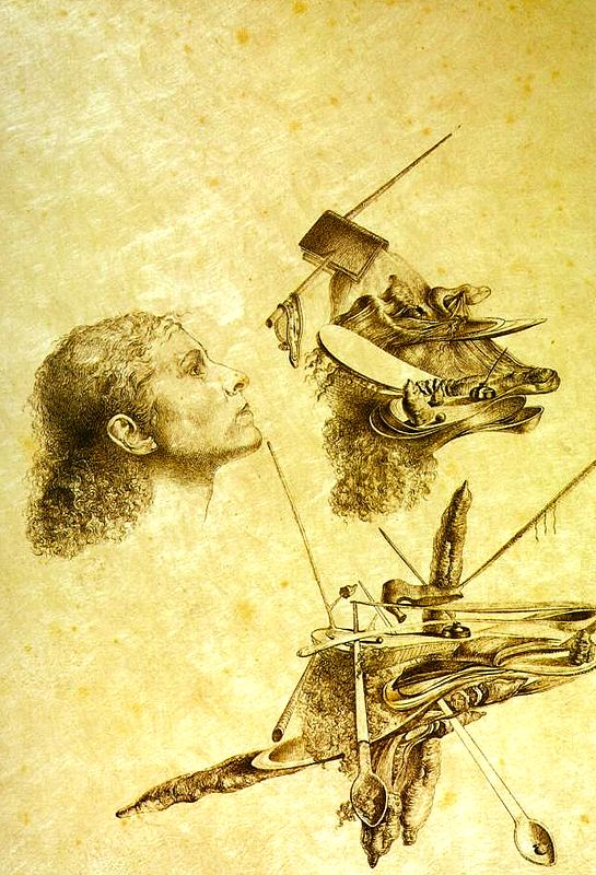 Salvador Dali, Paranoaic Metamorphosis of Gala's Face, 1932