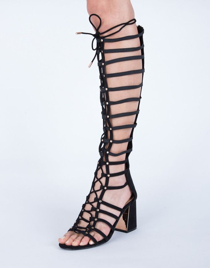 Chunky Lace-Up Sandal Heels - Black Gladiator Sandals - Leather Sandals – 2020AVE