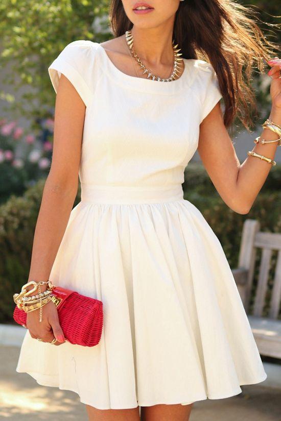 White Open Back Short Sleeve A Line Dress