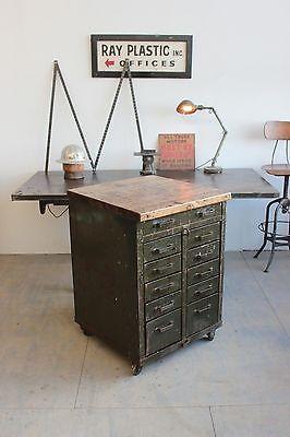 vintage industrial lyon rolling tool cabinet cart kitchen island butcher block. Black Bedroom Furniture Sets. Home Design Ideas