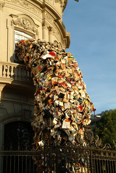 A waterfall of books