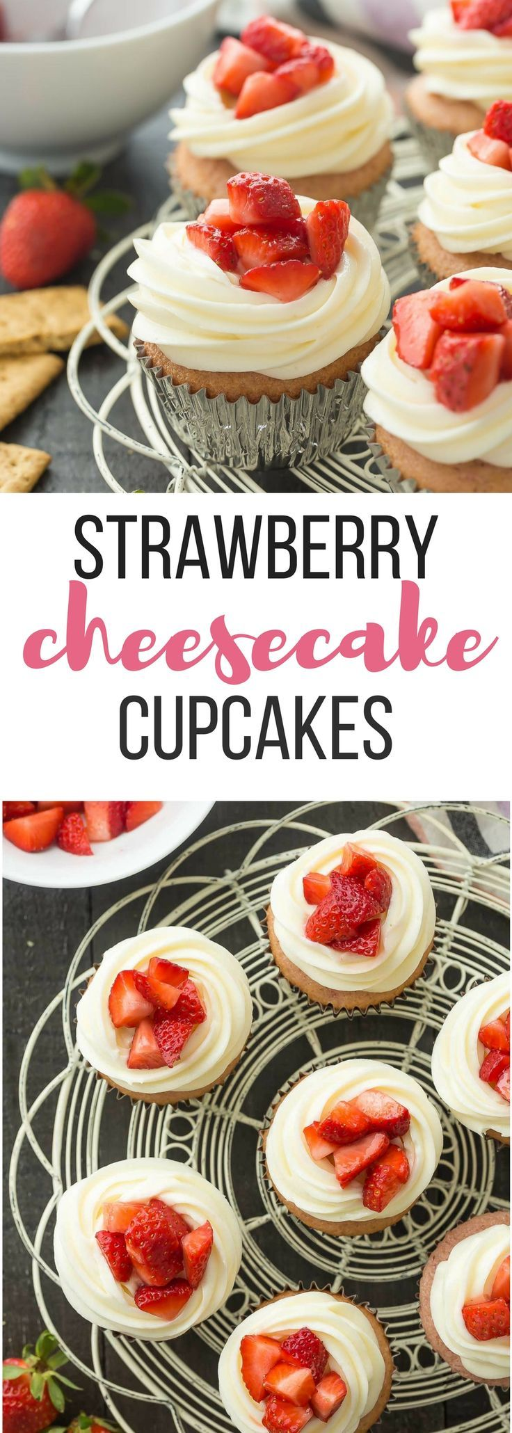 These Strawberry Cheesecake Cupcakes have a graham cracker base topped with a strawberry cake layer, cream cheese frosting and fresh strawberries. Perfect for any birthday, Easter dinner or Spring celebration! Sprinkles bakery recipe. Includes how to recipe video | birthday | Easter | holiday | party | cream cheese | fresh strawberries | dessert
