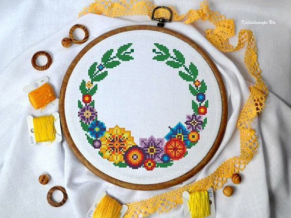 Multi-floral Wreath. Cross Stitch Pattern PDF  Instant