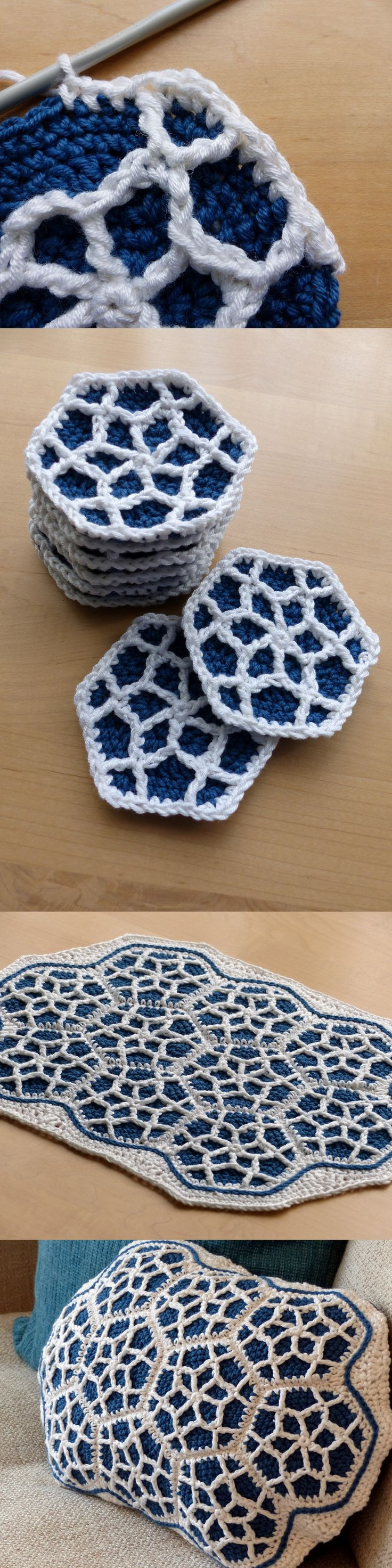 Moroccan Hexagon Motif – Free Crochet Pattern by Make My Day Creative – use this to make a cushion or blanket or scarf༺✿ƬⱤღ https://www.pinterest.com/teretegui/✿༻