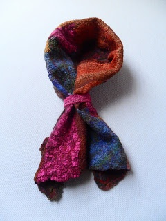 Nuno felting, upcycled scarf by Gallimaufry