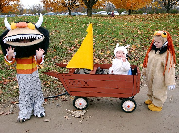 """My mother was inspired by the childhood classic and movie """"Where the Wild Things Are"""" so she made these costumes for the kids in our"""