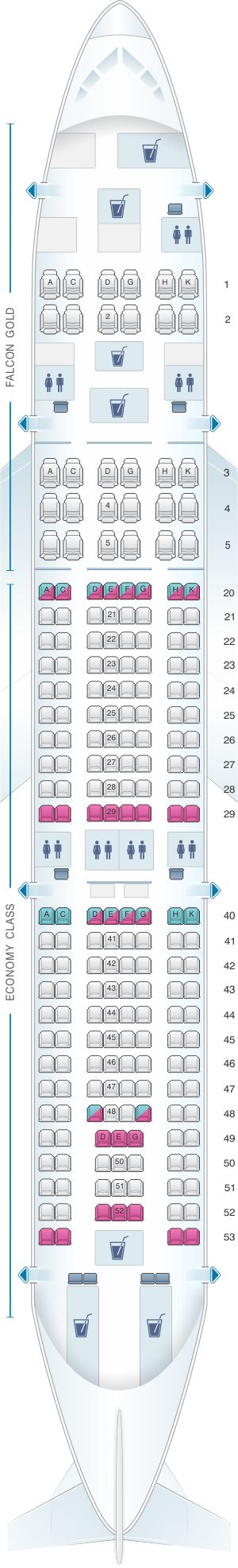 Seat Map Gulf Air Airbus A330 200 Config. 2