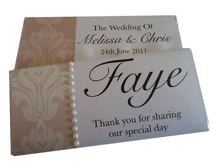 Make chocolate bar covers as personalised place setting and favour