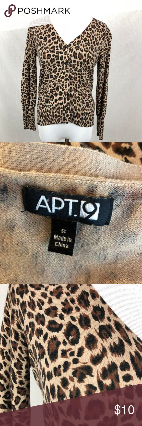 """APT 9 Leopard print v-neck cardigan sweater Women's APT 9 Leopard animal print button up cardigan. size small. some fuzzing/pilling to fabric  armpit to armpit-17"""" overall length-23""""  i179 Apt. 9 Sweaters Cardigans"""