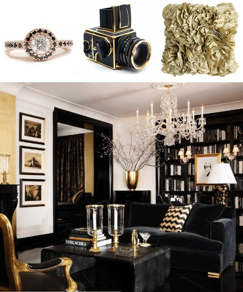 183 best Vintage Hollywood Glam Home Decor images on Pinterest - black white and gold living room ideas