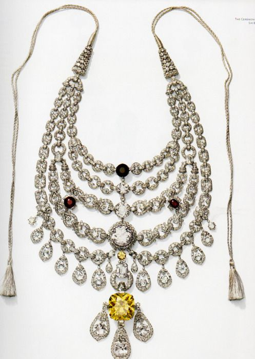 """The Patiala Necklace was a necklace created by the House of Cartier in 1928. It was made for and named after Bhupinder Singh of Patiala, the then ruling Maharaja of the state of Patiala. It contained 2,930 diamonds, including as its centrepiece, the world's seventh largest diamond, the """"De Beers"""", that had a 428 carat pre-cut weigh, and weighed 234.65 carats in its final setting."""