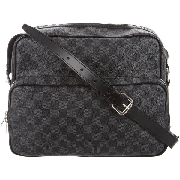 Pre-owned Louis Vuitton Damier Sac Leoh Messenger (€1.030) ❤ liked on Polyvore featuring men's fashion, men's bags, men's messenger bags, black, louis vuitton mens messenger bag, mens courier bag and mens messenger bag