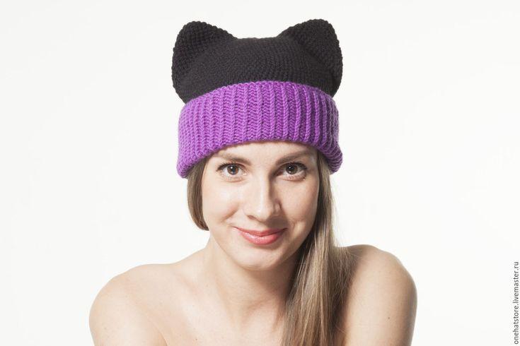 Купить Черная теплая вязаная шапка с кошачьими ушками для женщин и девушек - черный, фиолетовый