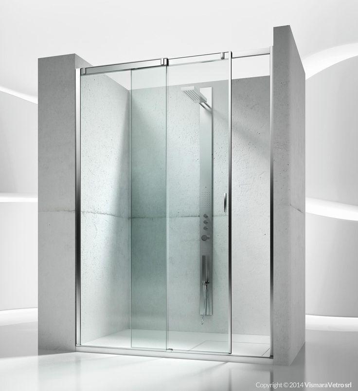 Sliding shower enclosure, for shower trays in recess. Shower enclosures Slide by @vismaravetro | VN