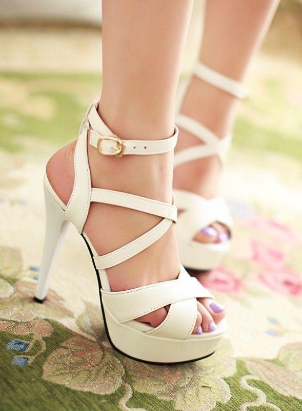 White strap high heels sandals