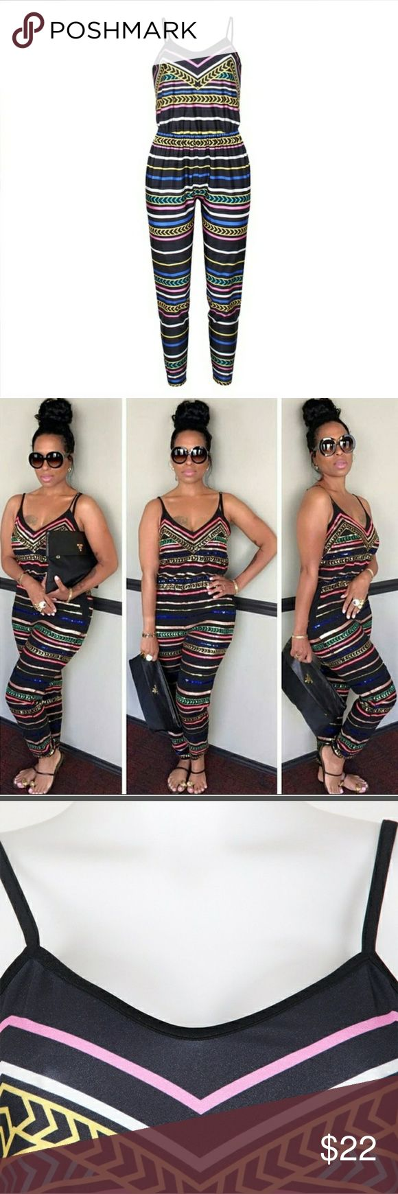 Sleeveless Striped Jumpsuit Sleeveless Striped Jumpsuit Polyester Pants Jumpsuits & Rompers