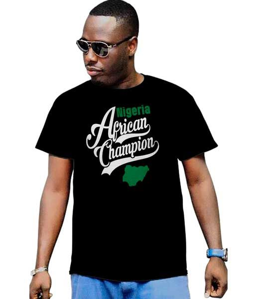 Men's African Champion Nigeria Flag Map T-Shirt