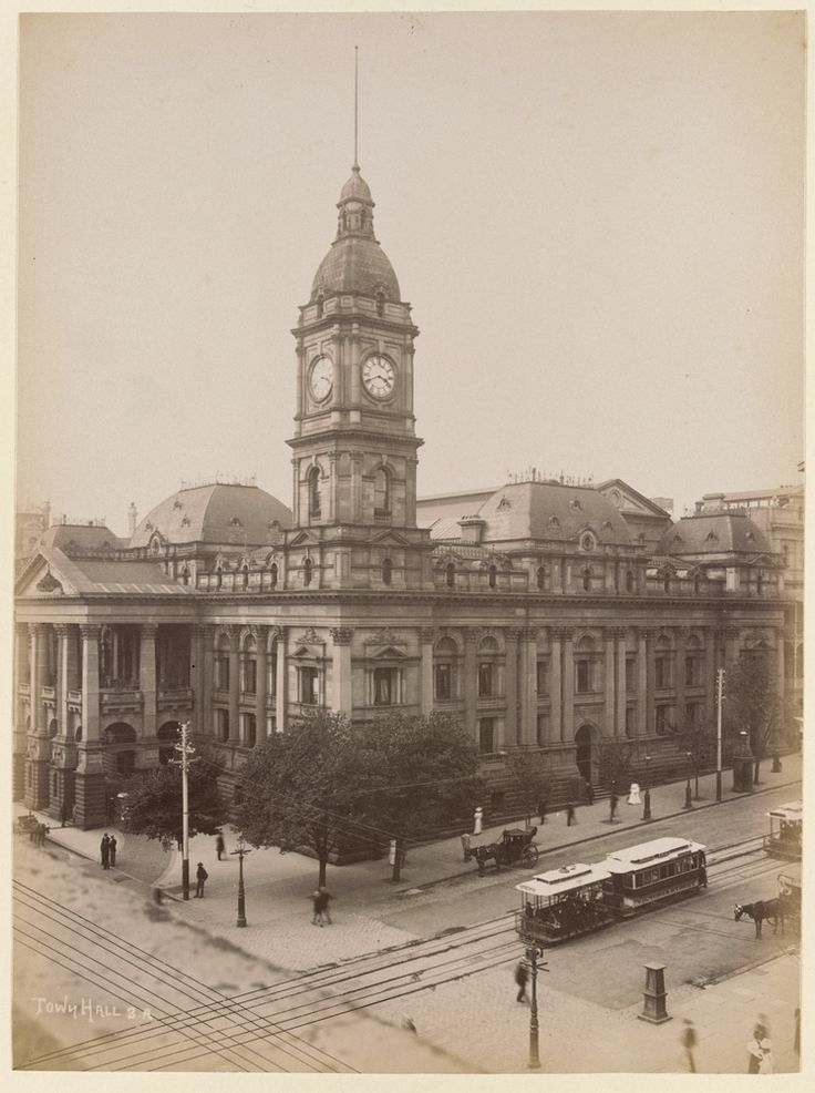 Melbourne Town Hall with cable tram, corner of Swanston and Collins Streets, c1890. Photograph courtesy State Library Victoria / N.J. Caire.