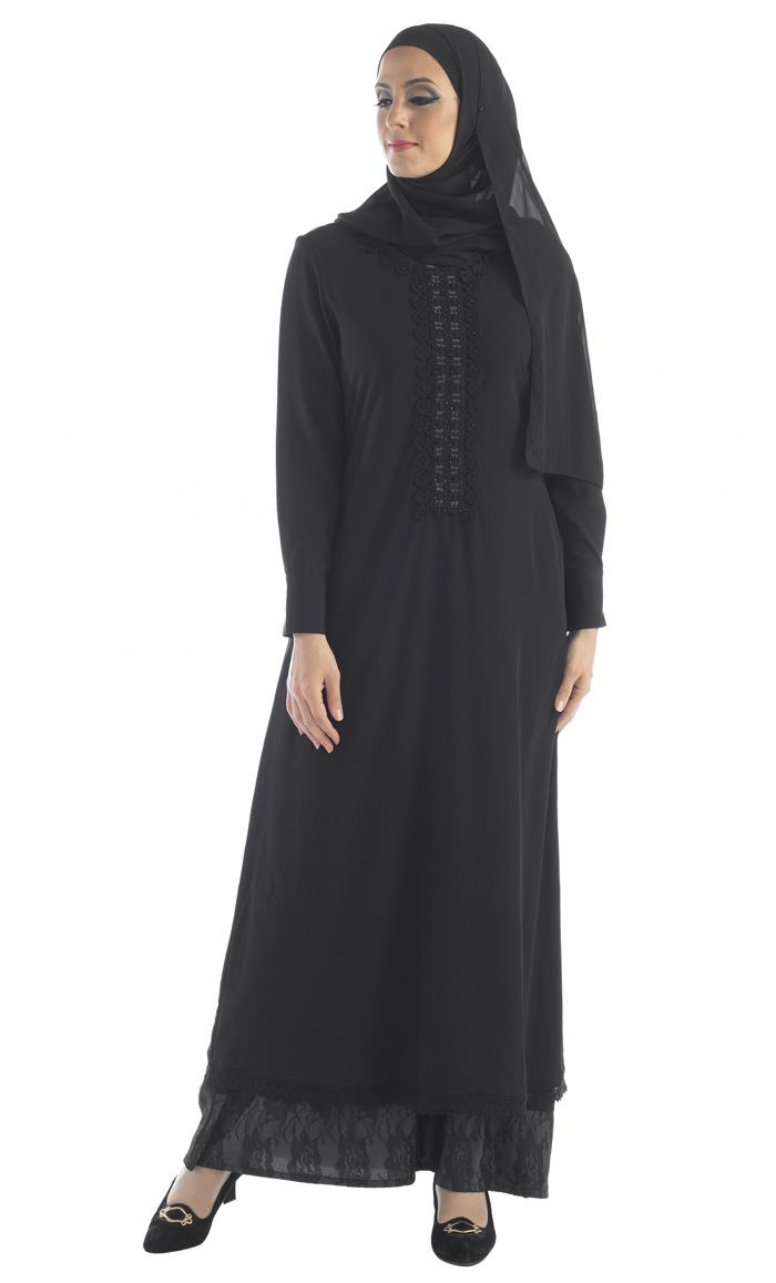Soft Polyester crepe Abaya with Lace accent on the neck and designer lace frill at the bottom. Fully lined for modesty.