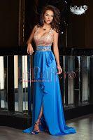 Rochie lunga albastra cu dantela aurie