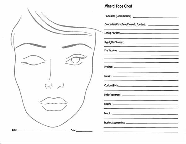 10 Blank Face Chart Templates (Male Face Charts and Female Face Charts)