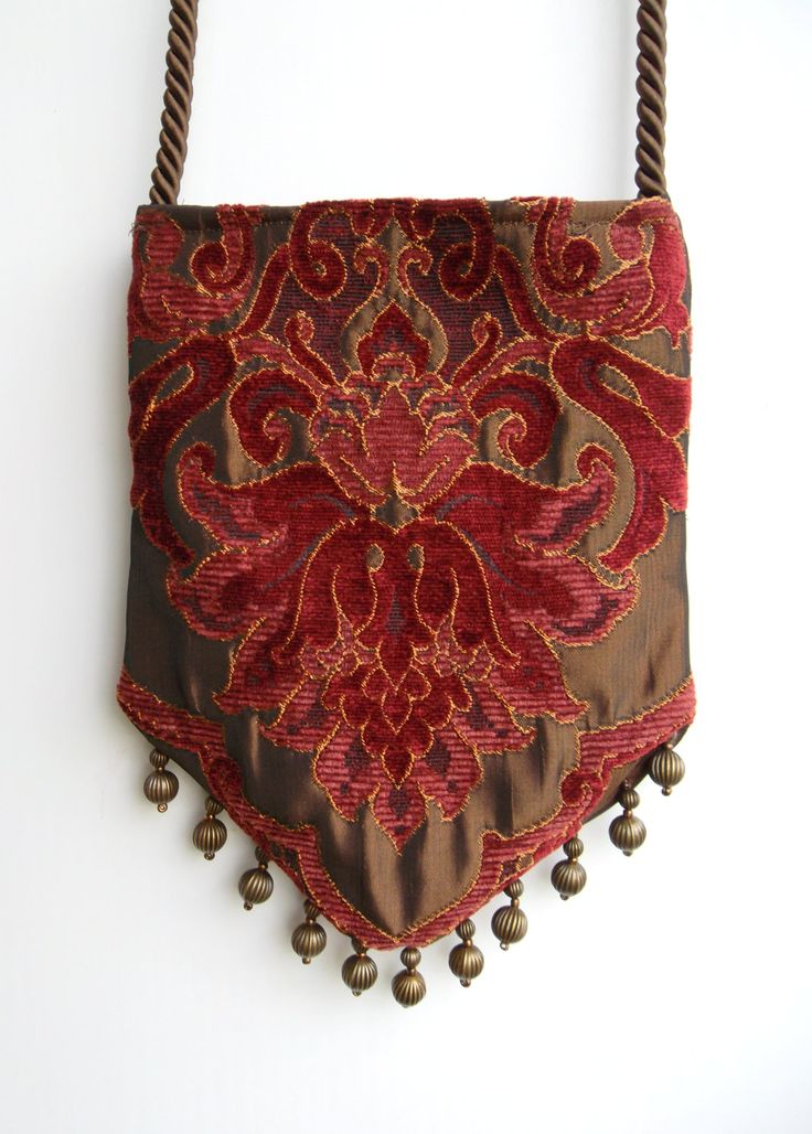 Gypsy Bag with Brass Beads   Rose and Light Burgundy Chenille Hippie Bag  Boho Bead Bag  Cross Body Bag. $40.00, via Etsy.