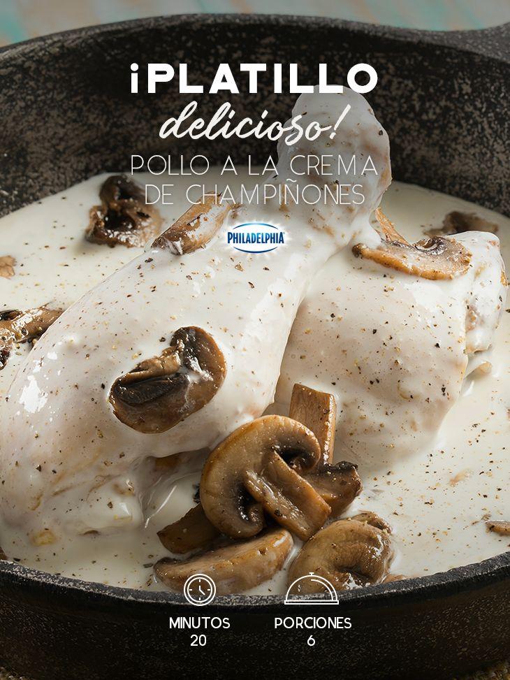 Haz de esa comida algo inolvidable con este Pollo a la crema de champiñones.   #recetas #receta #quesophiladelphia #philadelphia #crema #quesocrema #queso #comida #cocinar #cocinamexicana #recetasfáciles #champiñones #crema #pollo #recetasconpollo #polloensalsa #salsa #recetaspollo