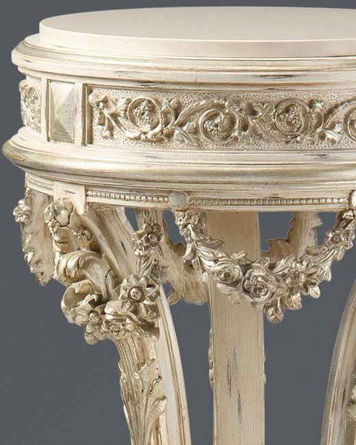 silver leaf finish regency style carved wood pedestal in antique white finish 2226